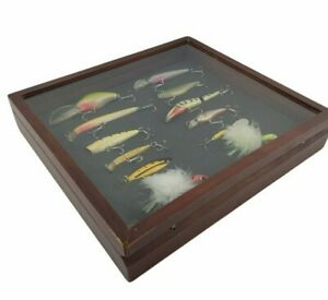 Framed Collection 12 Vintage Fishing Lures in Wood Case