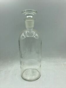 Antique Apothecary Glass Bottle w Stopper T.C.W. Co USA Wheaton 8quot; tall $29.99