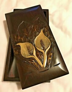 Brown Wooden Japanese Box Carved Flower Design NIB From Japan Christmas Gift GBP 22.00