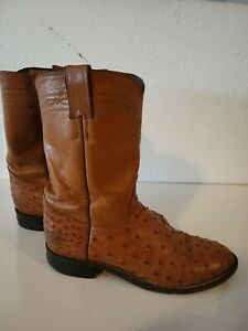 Justin Boots Full Quill Ostrich Ropers #3186 Size 9 D Cognac