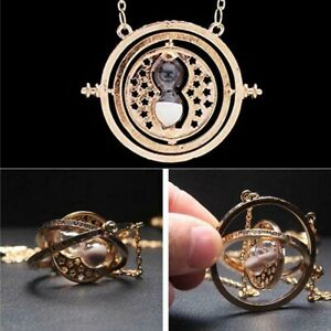 Harry Potter Turner Hermione Hourglass Necklace Granger Rotating Gold Time $8.42