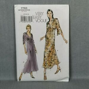 Vogue Very Easy Sewing Pattern 7793 Maxi Dress Bust 34 36 Size 12 14 16 UNCUT FF $18.95
