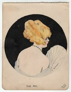 The Fan Flapper Girl Antique Signed Watercolor Painting after Raphael Kirchner $62.49