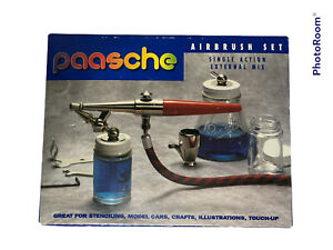 Paasche HS SET Single Action Airbrush with all Three Heads Bottles Cup amp; Hose $72.00