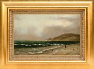 WESLEY WEBBER ANTIQUE AMERICAN OIL PAINTING MARITIME SEASCAPE 1874 19Th CENTURY $2250.00