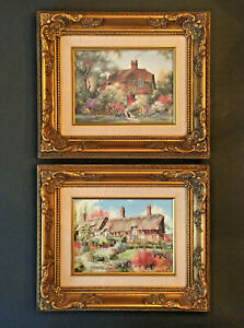 2 Marty Bell Hand Signed Lithographs on Canvas Framed COA English Cottages $249.99