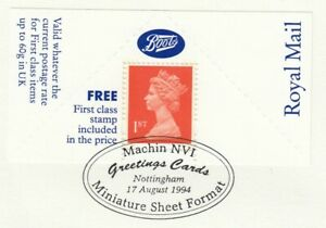 87882 GB Used Boots Pane 1st Definitive Greeting Card Nottingham 1994 ON PIECE