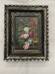 Antique Oil Painting On Wood Carved Wooden Frame 8 X 10 $120.00