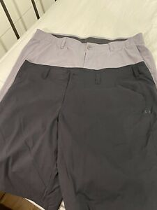 Mens Two Pair Under Armour Golf Shorts Size 40 Grey Black Loose Outdoor $29.99