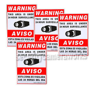 4 CCTV SECURITY CAMERA VIDEO WARNING STICKER SIGN DECAL HOME SURVEILLANCE bsr