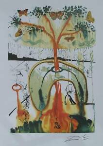 Salvador Dali Signed LE Lithograph MAD TEA PARTY from ALICE IN WONDERLAND SUITE