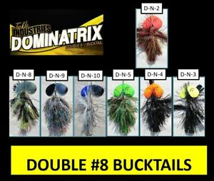 3 BULK 9quot; Double #8 Bucktail Muskie Musky Lure Northern Pike Bait Bass Cowgirl