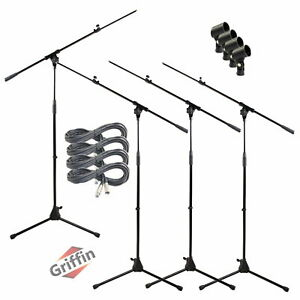 GRIFFIN Microphone Boom Stand 4PACK Holder Mount XLR Cable Mic Clip Stage Studio $90.95