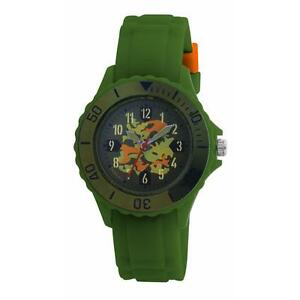 Tikkers  Childrens Boy's Green Army Camouflage SiliconeRubber Strap watch Boxed
