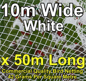Commercial Knitted Anti Bird Netting 10 Metres Wide x  50 Metres Long - White