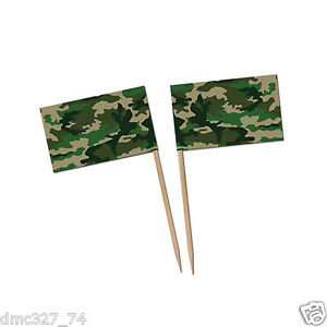 50 Boys ARMY CAMOUFLAGE Party CAMO PRINT Food Cupcake Hors D'Oeuvers PICKS