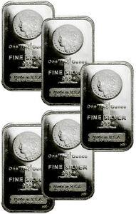 Lot of 5 - 1 oz Silver Bars .999- Morgan Dollar Design Bar SKU29507