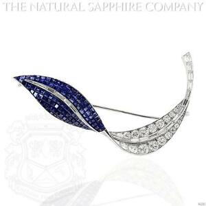 Platinum Blue Sapphire And Diamond Brooch (J4281)