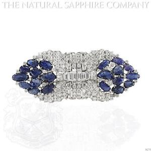 Platinum Blue Sapphire And Diamond Brooch (J4279)
