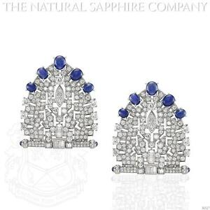 Platinum Blue Sapphire and Diamond Brooch (J4327)
