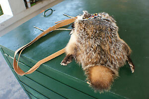 Badger fur - possibles bagpurse 8x16 pouch ft & claws rosette  rendezvous ready