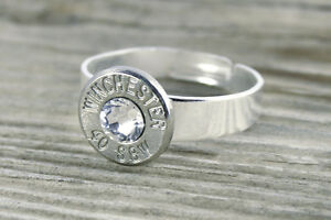 40 Caliber Nickel Bullet Adjustable Ring Pistol Custom Bullet Jewelry FREE SHIP