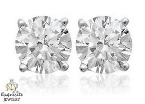 CERTIFIED .90ct ROUND GSI2 GENUINE DIAMONDS IN 14K GOLD STUDS EARRINGS