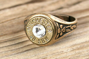 40 Caliber Antiqued Brass Adjustable Bullet Ring, Custom Jewelry, FREE SHIP