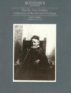 Sotheby#x27;s Otto Schafer Rembrandt Etchings Collection Auction Catalog 1993 $24.99