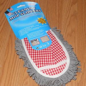 1 Pair CLEANING MOP SLIPPERS DUST FLOOR PLAID RED 10quot; x 4½quot; 25 x 11cm