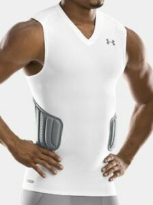 NEW Men XL UNDER ARMOUR MPZ Protector Padded Compression White Basketball Shirt