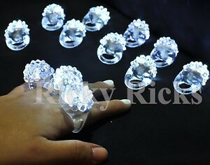 100 PACK Light-Up White Jelly Bumpy Rings Flashing LED Bubble Rave Favors