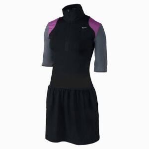 NEW Womens L NIKE GOLF Novelty Knit Half Zip Sleeve Black Grey Dress w Shorts