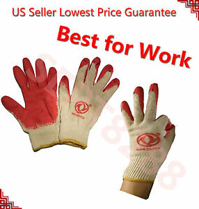 Wholesale 240 Pairs Platinum Red Work Safety Gloves Latex Palm Coat Fit amp; Tight