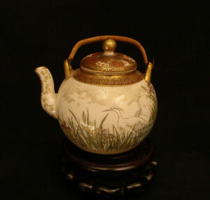 3 1 2 H MARKED Kinkozan JAPANESE MEIJI PERIOD SATSUMA TEA SAKE POT