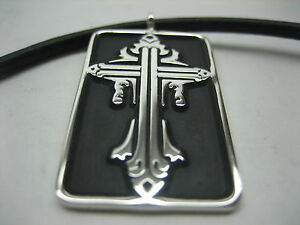 Sterling silver 925 cross tag necklace with Italian leather cord for menwomen.