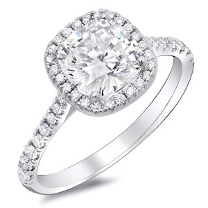 1.96 Ct Cushion Cut Diamond Lucida Design Halo Engagement Ring 14K HVVS2 EGL