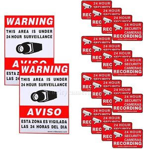 16 Home CCTV Surveillance Security Camera Video Sticker Warning Decal Signs bsq