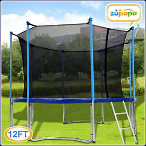 ZUPAPA ROUND 12FT TRAMPOLINE FRAME SAFETY ENCLOSURE SPRING PAD JUMPING MAT COMBO