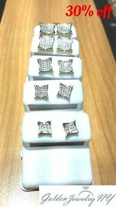Solid Man 10K Yellow Gold Micro-Pave Earrings Genuine Diamond (TCW) 0.10 - 1.00