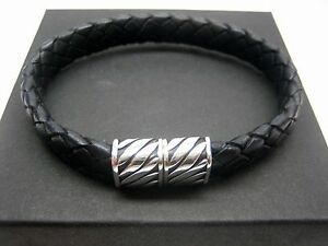 sterling silver 925 magnatic clasps wbraided Italian leather bracelet menwomen