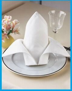 100 new white protex premium mercerized 100%cotton napkins 20x20 catering grade
