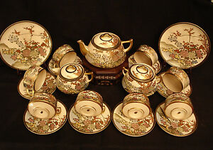 MARKED Kozan JAPANESE MEIJI SATSUMA TEA SET CUPSAUCER CREAMER SUGAR PLATE