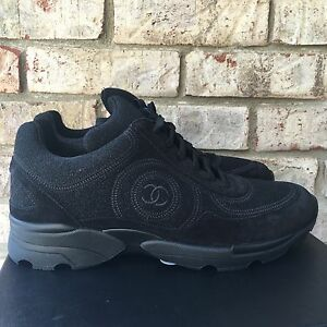 CHANEL 14B 2014 Sport Sneakers Trainers Shoes CC Suede Glitter Black Size 37