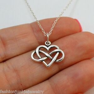 Petite Infinity Heart Charm Necklace - 925 Sterling Silver Love Gift Girlfriend