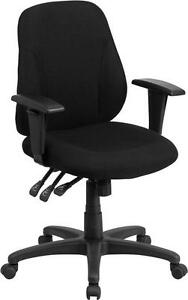 MID BACK BLACK FABRIC MULTI FUNCTIONAL ERGONOMIC CHAIR WITH HEIGHT ADJUSTABLE AR