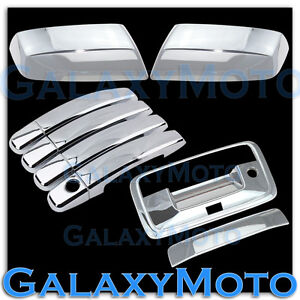 15-18 Chevy Silverado Chrome Mirror+4 Door Handle+Tailgate+Camera Hole Cover