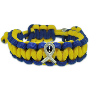 Down Syndrome Blue and Yellow w Awareness Ribbon Paracord Adjustable Bracelet