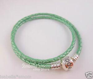 Authentic PANDORA Mint~Sea GREEN Leather DOUBLE BRACELET 16.1