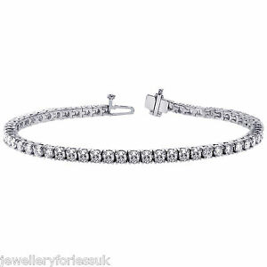 18Carat White Gold Diamond Tennis Bracelet 4-Claw 8.00cts 7.25